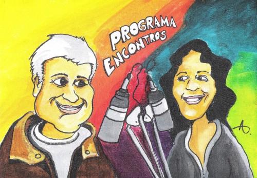 Charge do programa Com Ricardo Brito e Mariana Leporace